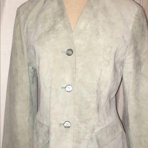 Ann Taylor suede leather blazer jacket women's M